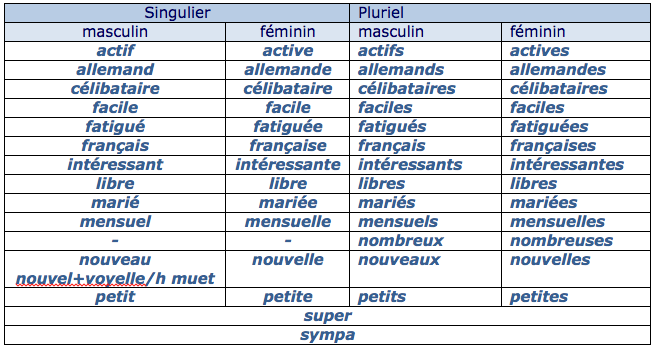 Adjectifs qualificatifs